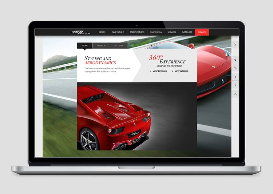 WebWorks Web Design Los Angeles - Ferrari 458 Spider 2019