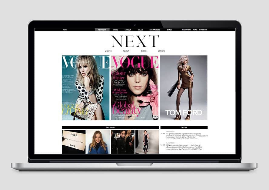 WebWorks Web Design Los Angeles - NEXT Modeling Agency 2019